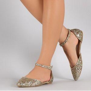 BAMBOO gold glitter ankle strap Dorsay flats